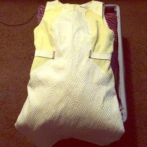 Yellow and white Calvin Klein knew high dress